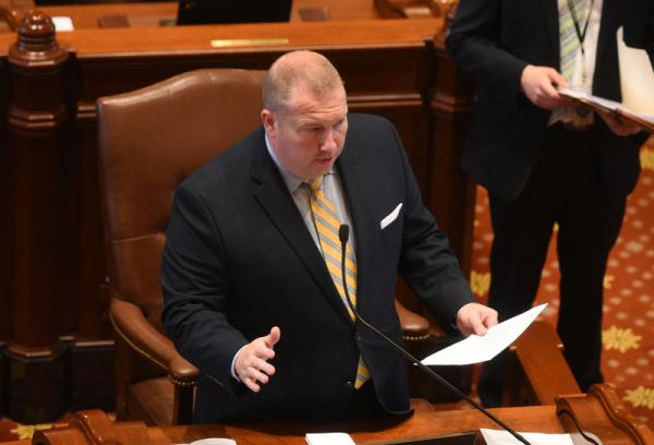 Sen. Scott Bennett (D, Champaign) on the Senate floor in April. Bennett was one of several state senators to decry the proposed pension cost shift at Wednesday's Senate Appropriations committee