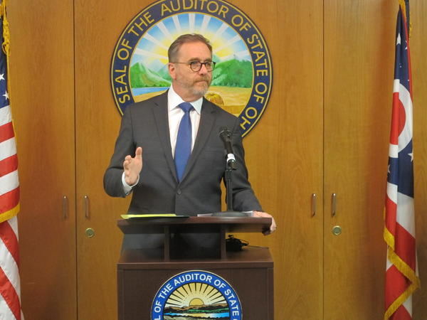 Auditor Dave Yost unveils his findings after reviewing ECOT records on student participation in his Columbus office.