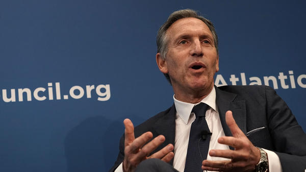 Starbucks Chairman Howard Schultz participates in a discussion at the Atlantic Council in Washington, D.C., on Thursday. He said the arrest of two black men was the company's responsibility.