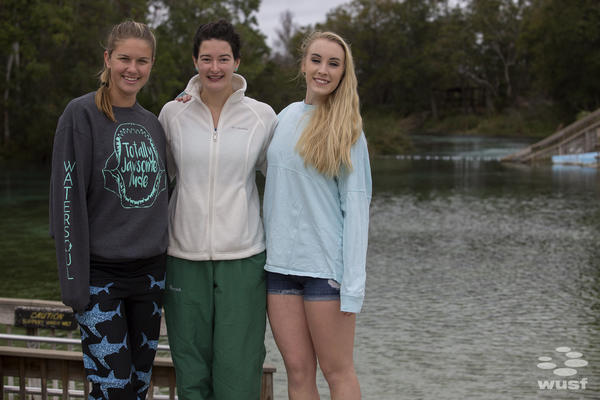 Taylor Cunningham, Susanna Herrick, and Lizzie Downs braved Saturday's cold temperatures to audition to become one of Weeki Wachee's legendary mermaids.