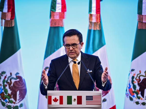Mexican Economy Minister Ildefonso Guajardo speaks to reporters during the seventh round of NAFTA talks in Mexico City, on March 5. U.S. House Speaker Paul Ryan has said a deal needs to be completed this week, but fundamental differences remain among the U.S., Canada and Mexico.