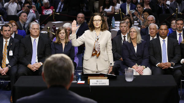 Gina Haspel is sworn in to testify at her confirmation hearing before the Senate intelligence committee in Washington on May 9. The full Senate on Thursday confirmed Haspel as CIA director, making her the first woman to hold the job.