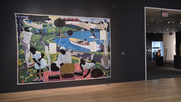 <em>Past Times</em> by Kerry James Marshall at Sotheby's. It sold for $21.1 million, a record auction price for a living African American artist, this week.
