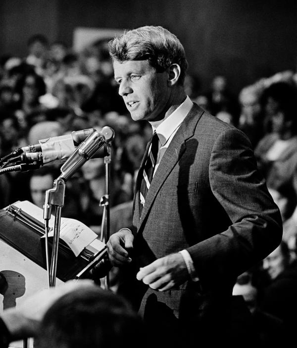 Kennedy gives a speech at an Oregon labor hall, where he campaigned on behalf of congressional candidates, in 1966. This was young photographer David Kennerly's first major political photo, at the beginning of his long career covering many of the important events of his generation.