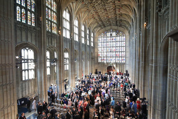 About 600 people, including several celebrities, were invited to Harry and Meghan's wedding ceremony Saturday in St. George's Chapel at Windsor Castle.