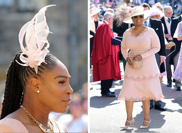 The high-profile guests included tennis star Serena Williams and Oprah Winfrey, who both opted for shades of dusty rose and captured the British tradition of unusual headgear.