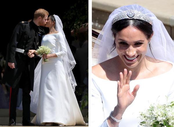 Harry, in the frock coat military uniform of the Blues and Royals, and Meghan, in her Givenchy boat neck dress, leave St. George's Chapel, but not before pausing for a kiss.