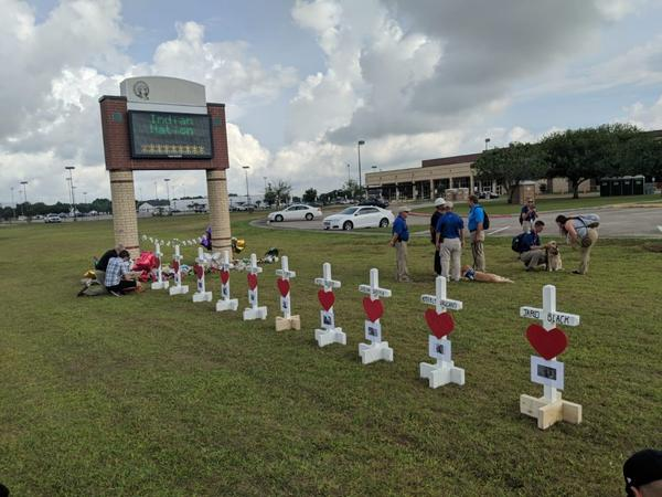 A memorial to the victims of the Santa Fe High School shooting.