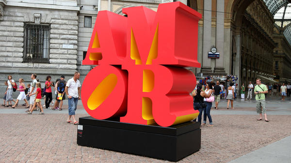 "A Robert Indiana installation of ""AMOR"" on exhibit in Piazza della Scala in Milan, Italy, in 2008."