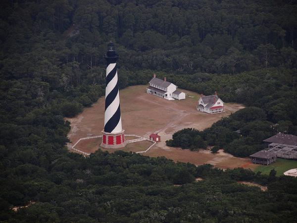 The lighthouse at Cape Hatteras National Seashore in North Carolina, has already been moved inland to protect it from flooding.