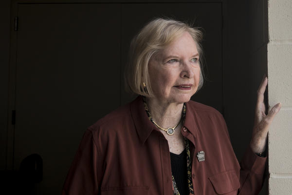 Janet Guthrie, 80, a retired professional race car driver, poses for a portrait during Legends Day at the Indianapolis Motor Speedway on Saturday. She is the first woman to qualify and compete in both the Indianapolis 500 and the Daytona 500.