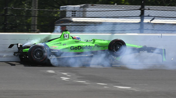 Danica Patrick hits the wall in the second turn, during Sunday's running of the Indianapolis 500 auto race at Indianapolis Motor Speedway in Indiana.