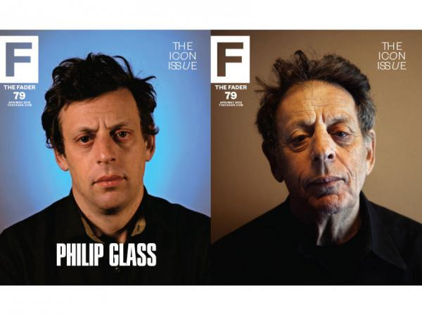 Images of composer Philip Glass from the cover of the Icon issue of <em>The Fader</em>.