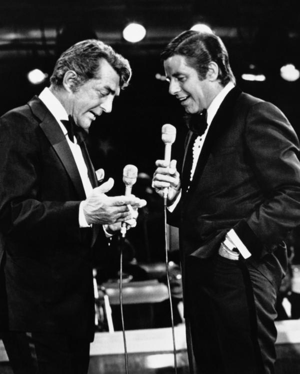 Dean Martin and Jerry Lewis appear together for the first time in years on Lewis' annual 1976 telethon to fight muscular dystrophy. Frank Sinatra, one of many stars who appeared, brought Martin along as a surprise.