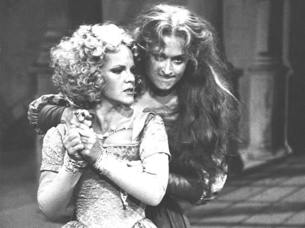 Deborah Rush and Meryl Streep in the 1978 Shakespeare in the Park production of <em>The Taming of the Shrew</em>. Streep did a reading of <em>Romeo and Juliet</em> with Kline on June 18, to mark the Delacorte's 50th anniversary.