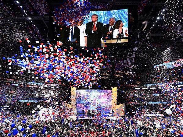 """As balloons fell after Republican presidential candidate Donald Trump accepted his party nomination last night, the Rolling Stones' """"You Can't Always Get What You Want' rang through the arena."""