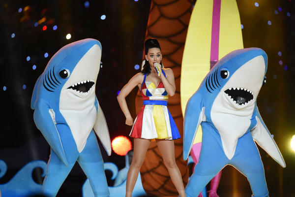 Singer Katy Perry performs (with her sharks) during the Super Bowl XLIX halftime on Feb. 1, 2015.
