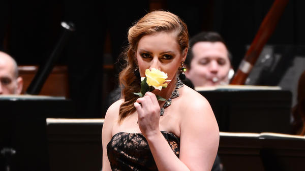 Mezzo-soprano Aleks Romano performs in <em>Carmen in Concert </em>at the Kennedy Center in Washington, D.C. on April 21, 2018.