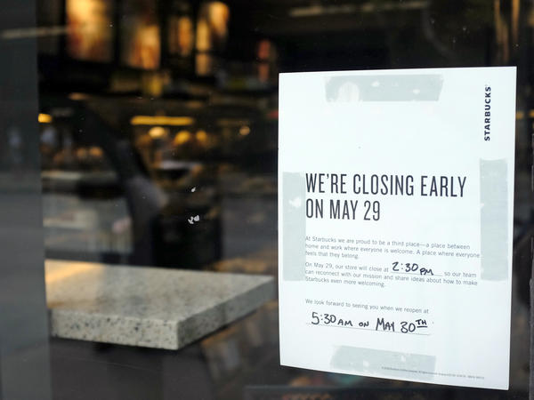 A sign is posted May 25 in the window of a Starbucks store, in Chicago. Starbucks will close more than 8,000 stores nationwide on Tuesday to conduct anti-bias training for employees.