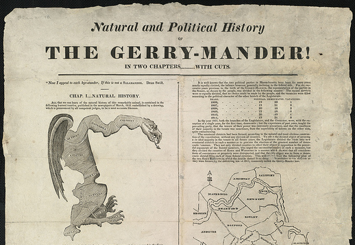 "This 1812 political cartoon in the Boston Gazette is considered to be the origin of the term ""gerrymander."""