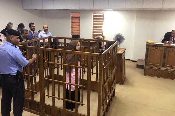 French national Djamila Boutoutaou attends her trial at the central criminal court in Baghdad, on April 17, in which she is sentenced to life in prison for belonging to ISIS.