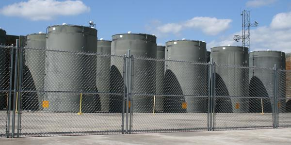 Spent fuel at Vermont Yankee is stored in these casks. NorthStar, the company that wants to buy the closed plant, recently boosted its financial plan to pay for fuel storage.