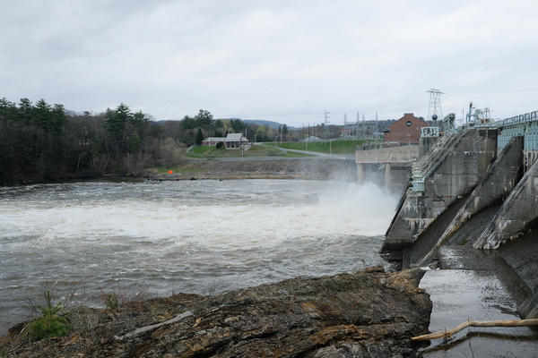 Whitewater rushes out of Wilder Dam, near Hanover, in early May.