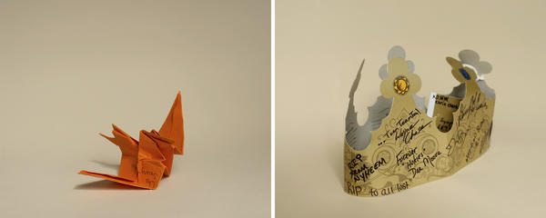 An origami crane and a paper crown from the Virginia Tech April 16, 2007, Archives of the University Libraries, at Virginia Tech in Blacksburg, Va.