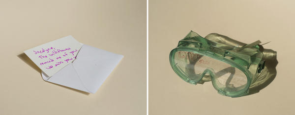 (Left) A letter in Archives of the University Libraries, Virginia Tech. (Right) Goggles from Founders Memorial Library and Archive at Northern Illinois University in DeKalb, Ill.