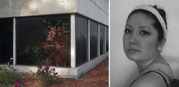 (Left) A landscape of Roseburg, Ore., home of Umpqua Community College. (Right) Julie Woodworth is a survivor of the shooting at Umpqua Community College on Oct. 1, 2015.