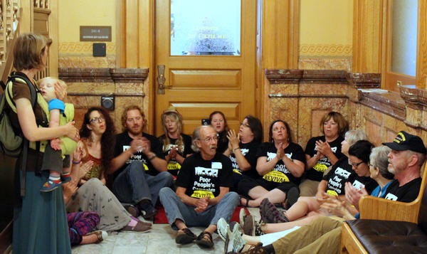 Protesters in the Kansas Capitol this week.