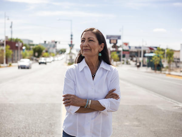 Deb Haaland poses for a portrait in a Nob Hill Neighborhood in Albuquerque, N.M., on June 5.