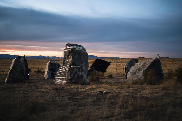 Inspired by Stonehenge in England, the Marfa stone circle uses solar energy to convert electricity into light and sound that activates on the night of a full moon.