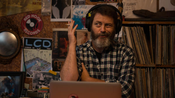 "Nick Offerman plays Frank Fisher, a single dad, in <em>Hearts Beat Loud.</em> ""This is the largest role, by far, I've ever had in a film,"" he says."