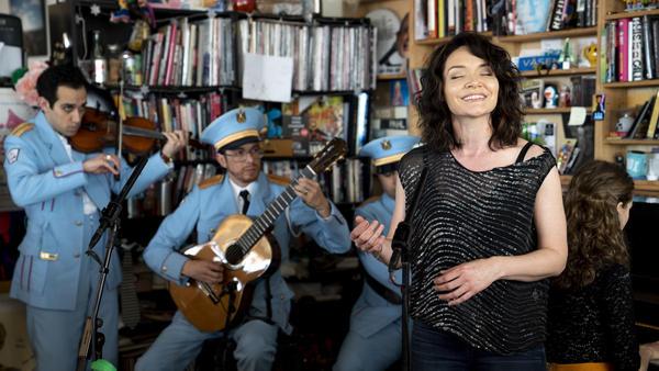 <em>The Band's Visit</em> star Katrina Lenk performs at NPR's Tiny Desk on May 15, 2018.
