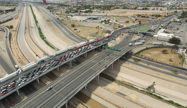 An aerial view of the Bridge of the Americas POE El Paso Texas.