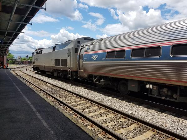 An Amtrak train at the rail platform at Union Station in Springfield.