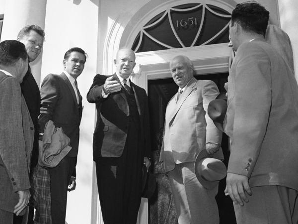 President Dwight Eisenhower and Soviet Premier Nikita Khrushchev windup their farewells on the steps of the Blair House in Washington on Sept. 27, 1959.