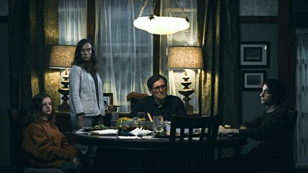 Millie Shapiro, Toni Collette, Gabriel Byrne and Alex Wolff play the troubled family at the center of <em>Hereditary</em>.