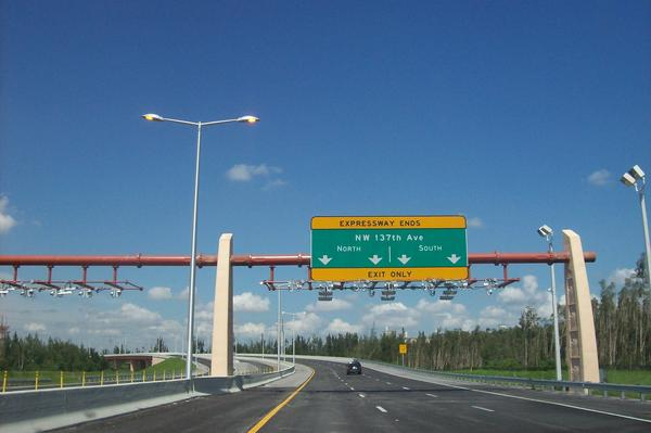 The 836 Highway, Dolphin Expressway, currently ends on 137th avenue.