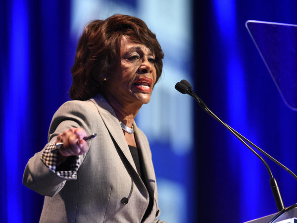 """Rep. Maxine Waters, D-Calif., speaks at the 2018 California Democrats State Convention in San Diego in February. """"If you think we're rallying now you ain't seen nothing yet,"""" Waters said over the weekend."""