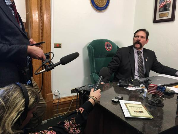Sen. Randy Baumgardner, R-Hot Sulphur Springs, addresses allegations of sexual harassment during a press conference on Feb. 13, 2018.