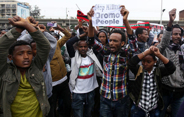 Protesters chant slogans at a demonstration in Ethiopia's capital, Addis Ababa, on Aug. 6. Demonstrations took place last weekend across the country, and Amnesty International says dozens of peaceful protesters were shot dead.