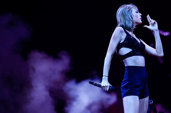 Taylor Swift on stage in 2015. Her sixth album, <em>Reputation</em>, is out Friday, November 10.
