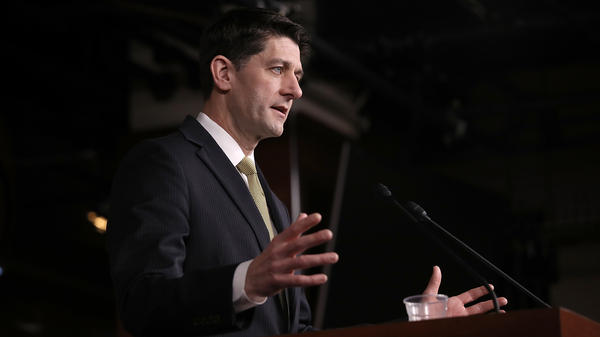 Speaker of the House Paul Ryan, R-Wis., answers questions Thursday on the possibility of a government shutdown. After receiving assurances from Ryan, a key group of conservative House Republicans said they would support a short-term-funding bill.