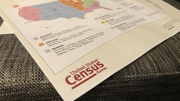 A map shows the locations of the U.S. Census Bureau's regional offices for the 2020 census.