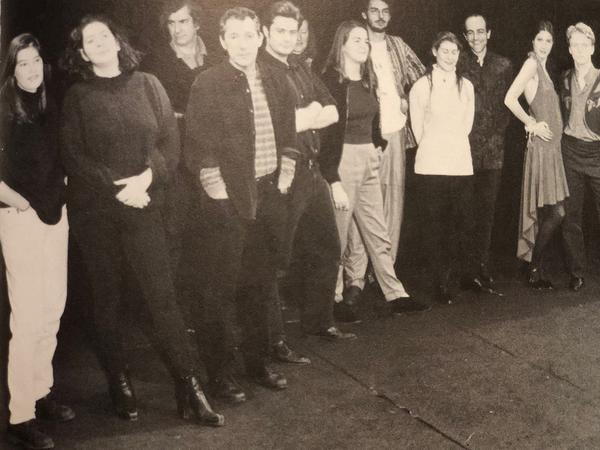 Jana Mestecky (left) poses for a cast photo during production of the play <em>Des rats et des hommes</em>, directed by Israel Horovitz (front, third from left). The photo appeared in the French magazine, <em>L'Avant-Scène,</em> in 1994.<em> </em>