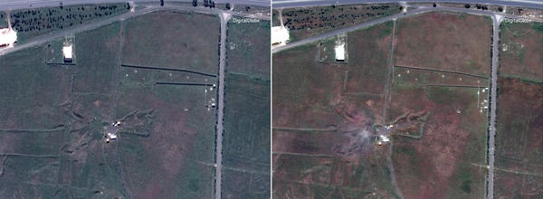 Satellite images appear to show another target at the Shinshar chemical weapons complex outside Homs before the missile attack (left) and the day of the attack (right).