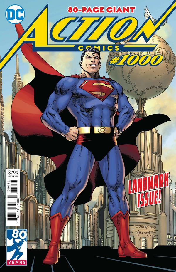 Buckle Up: The cover of <em>Action Comics</em> #1000, by Jim Lee (pencils), Scott Williams (inks) and Alex Sinclair (coloring).