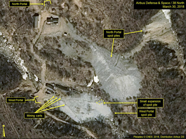 This satellite image portraying the Punggye-ri nuclear test site in North Korea was released and notated by Airbus Defense & Space and 38 North in March. North Korea says it will dismantle its nuclear test site between May 23 and 25.